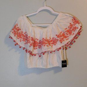 Poof White and Coral Croptop